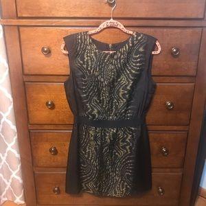 Dolce Vita ⚜️ Black, Gold & Green Print Silk Dress